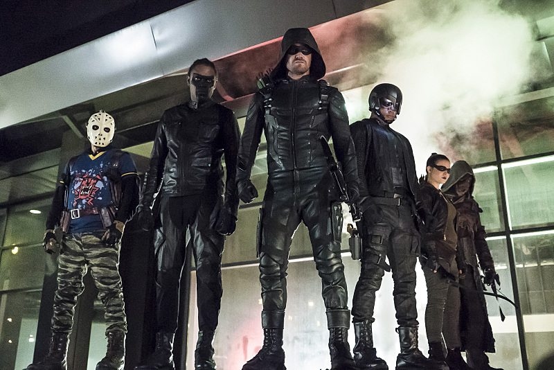 Team Arrow (L-R): Rick Gonzalez as Rene Ramirez/Wild Dog, Echo Kellum as Curtis Holt/Mr.Terrific, Stephen Amell as Oliver Queen/The Green Arrow, David Ramsey as John Diggle/Spartan, Madison McLaughlin as Evelyn Sharp/Artemis, and Joe Dinicol as Rory Regan/Ragman -- Photo: Katie Yu/The CW -- © 2016 The CW Network, LLC. All Rights Reserved.