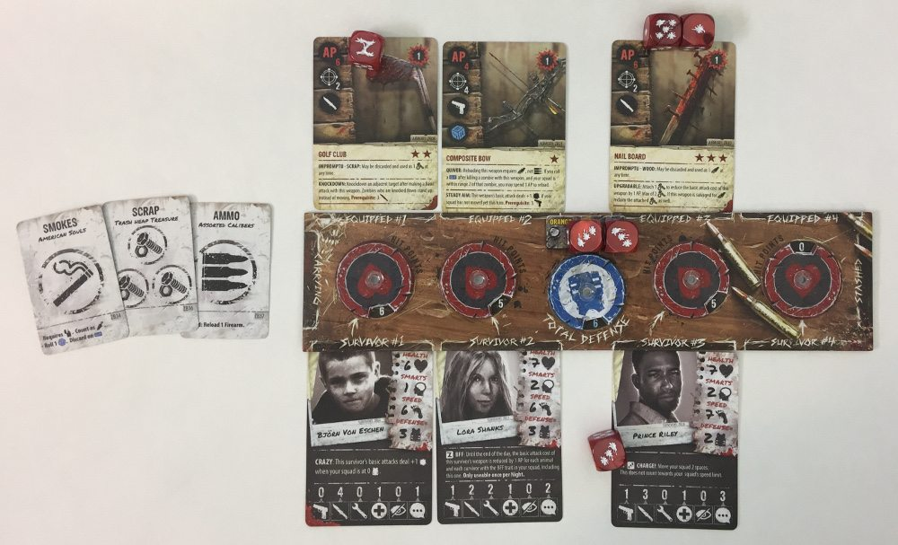 A Zpocalypse 2 squd board with survivors, weapons, and carried items. Dials show the health of each survivor and total squad defense.