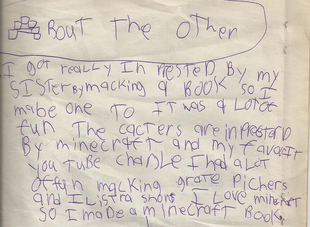 "Child's ""about the author"" page"