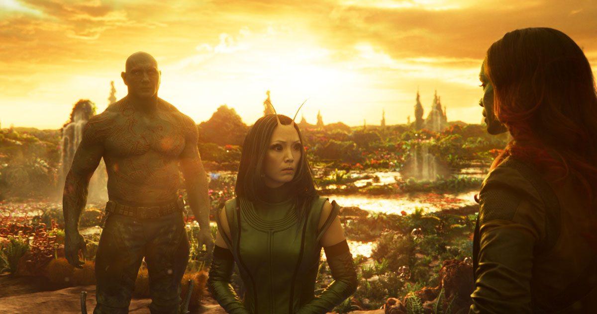 Drax, Mantis and Gamora on Ego's planet, GotG Vol 2