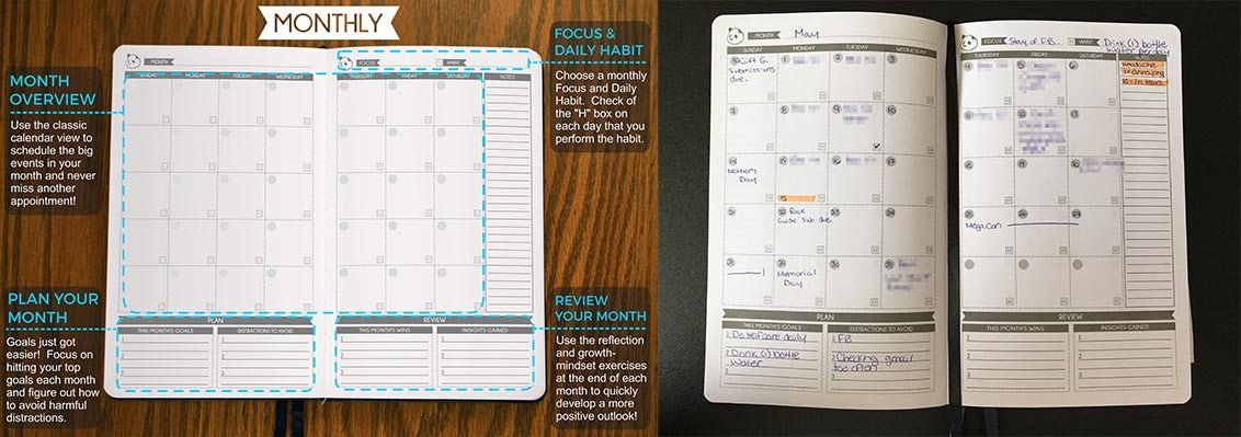 Panda Planner monthly page layout  Image: Dakster Sullivan
