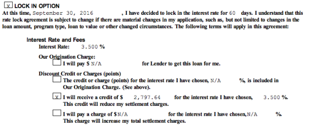 Image of refinance loan terms. 3.5% with credit of over $2700.