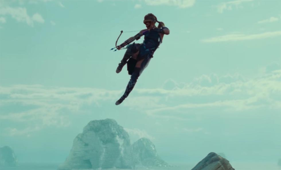 Antiope from Wonder Woman shooting a bow and arrow
