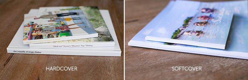 Photos of hardcover and softcover photo books available for purchase from Picoboo