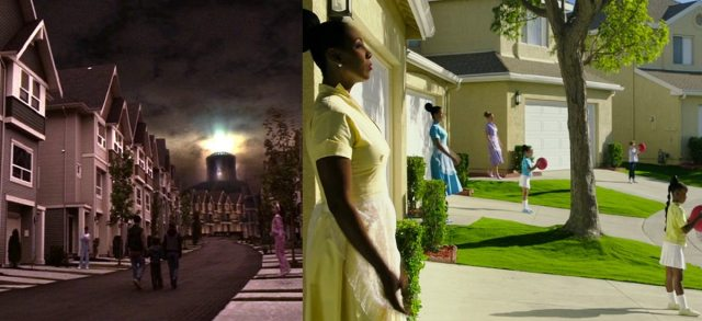Screenshots of the protagonists arrival on a suburban street on the fallen planet of Camazotz, from two different adaptations of A Wrinkle In Time