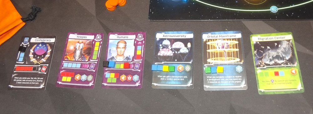 Master of the Galaxy cards with cubes on them