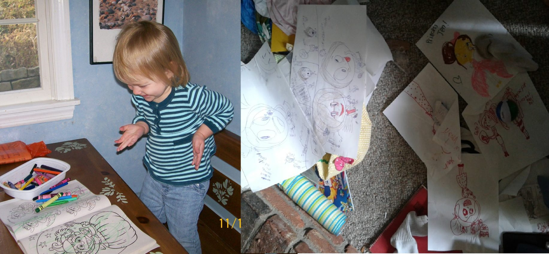 the author's daughter colors as a toddler and leaves a pile of drawings as an 8yo
