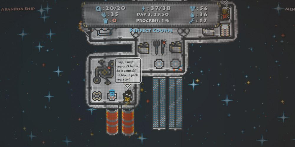 A shot of most of the game screen in 'Destination Ares' showing part of the ship, resource levels, and a crew member talking to the ship.