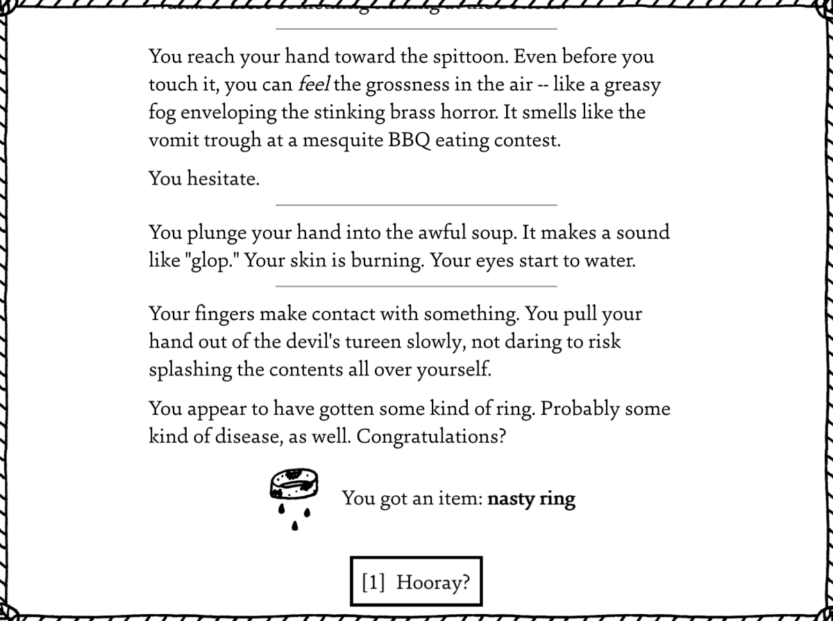 The text shown as the West of Loathing narrator tries to dissuade you from investigating a spittoon.