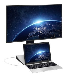 """BenQ 27"""" Monitor allows a laptop to sit below the screen for a two-monitor arrangement."""