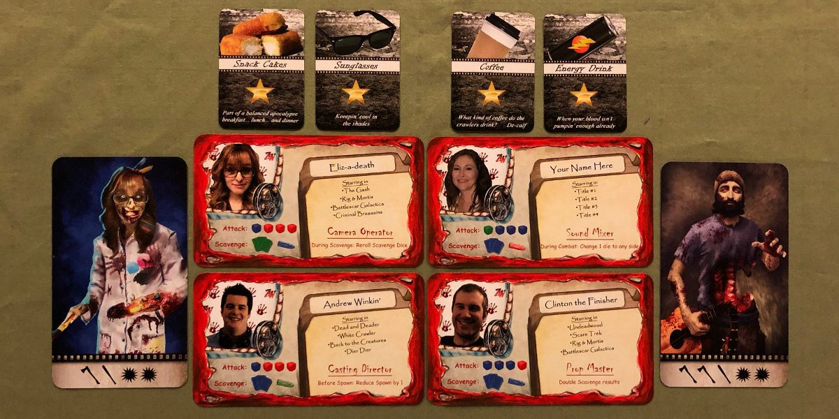 Actors, and the back side of some actor cards showing the actor's zombified version in Adventures in Zombiewood. Also on display are four star power cards with items such as sunglasses or coffee shown on them.