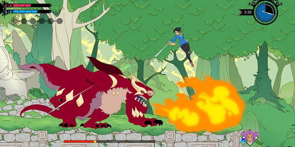 Mina, a human female protagonist from Battle Chef Brigade, leaps into the air and shoots darts at a nearby dragon, who is shooting flame below her.