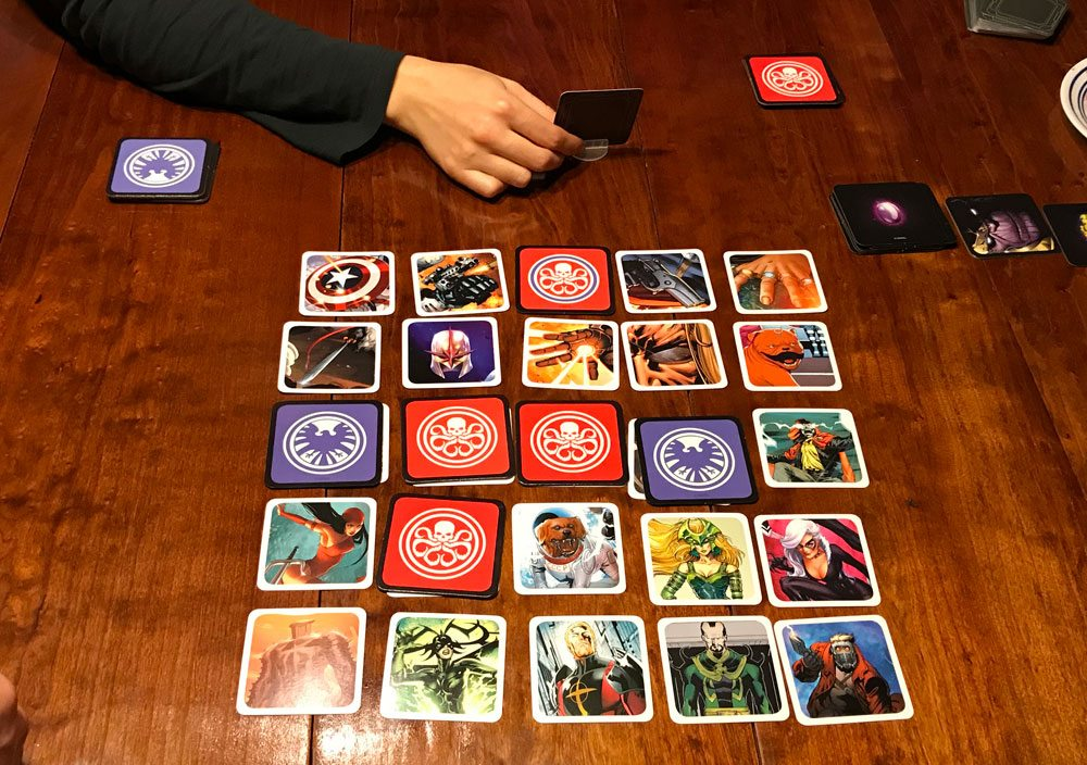 Codenames: Marvel game in progress