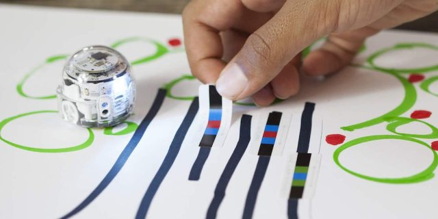 Ozobot Evo robot can follow directions coded into a drawn path.