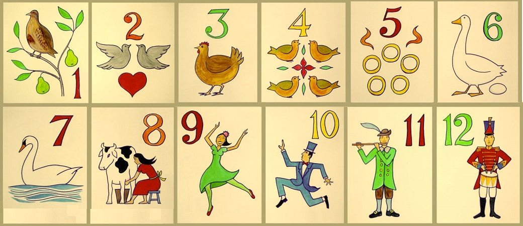 "Twelve numbered cards illustrating the gifts in the song ""The Twelve Days of Christmas"""