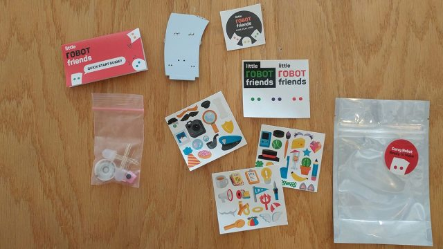 Electronics and stickers included with Little Robot Friends kit