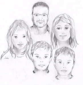 Jade Blaney's sketch of my family using Blackwing pencil