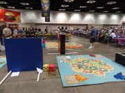 Giant games are quite popular at Gen Con. Here's Mayfair's area, with Giant Settlers of Catan and Giant Settlers of America