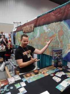 Ben Harkins of Floodgate Games is really excited to be at Gen Con with Legacy: Gears of Time and the new expansion Forbidden Machines.