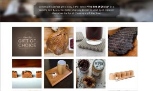 diplays a webpage offering 8 plus gift selections ranging in food, ammenities, to charitable giving.