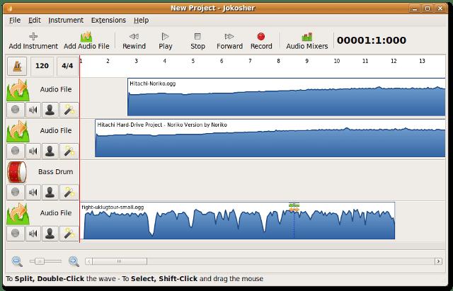The Jokosher window showing a loaded project.