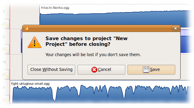 Like many GNOME applications, Jokosher will prompt the user to save the project and provide three choices.