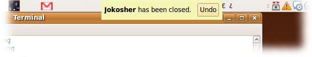 If you forgot to save your document, or just want to continue working on it, you can undo the closing of Jokosher.