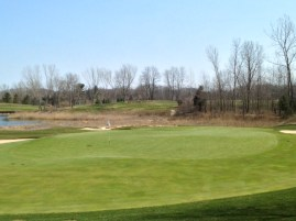 #13 - Looking back, the challenging contours of the green are revealed