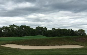 #11 - Par 3 - Green contours as seen from the 12th tee