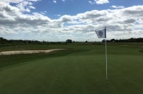 #2 - Par 4 - Green back with the stiff wind extending the flag