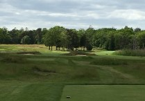 #5 - Par 4 - Tee view of the center bunkers
