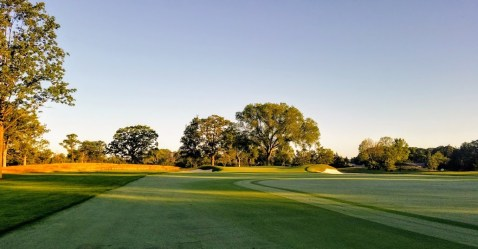 The approach from the left on the par-4 15th
