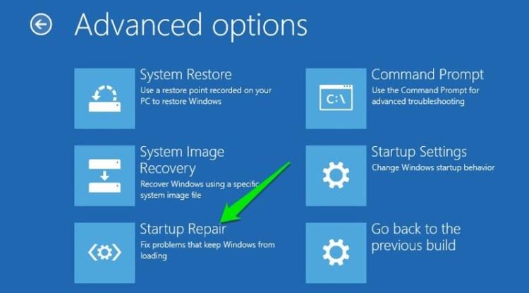Startup Repair in Windows 10