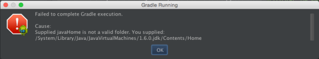 Gradle can't find javaHome dialog