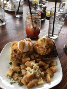 Spicy Bloody Mary and Crab cake Eggs Benedict