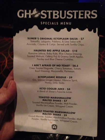 Ghostbusters menu at Alamo Drafthouse Kansas City