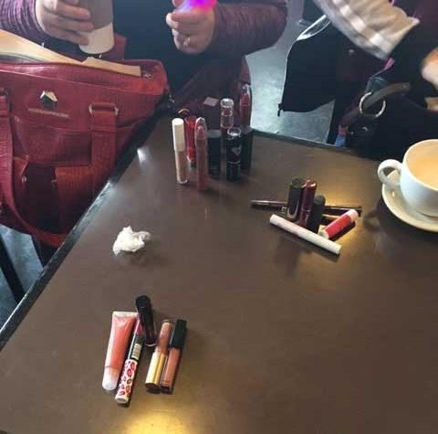 Comparing lipstick collections at Geek Girl Brunch-Kansas City
