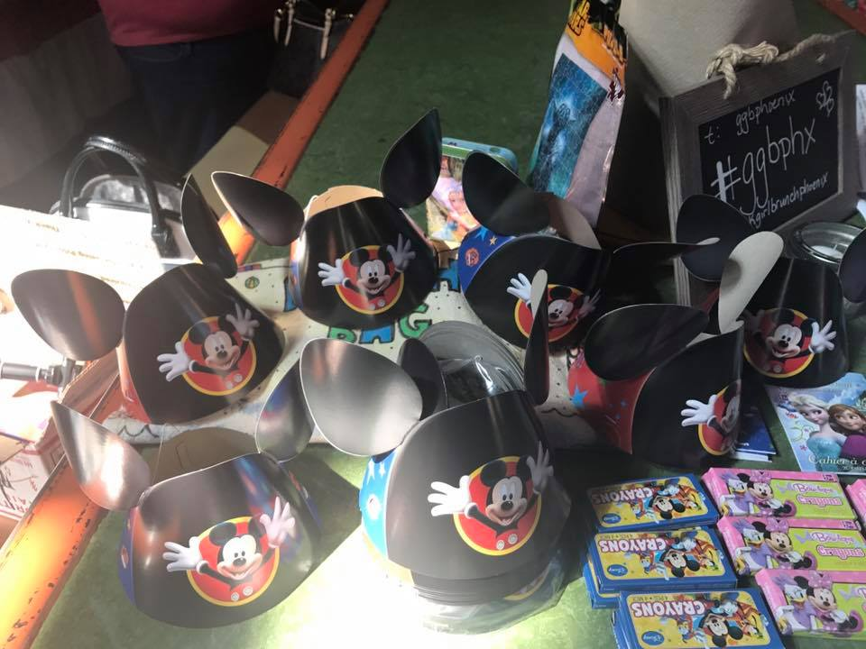 Mickey hats crayons and coloring books