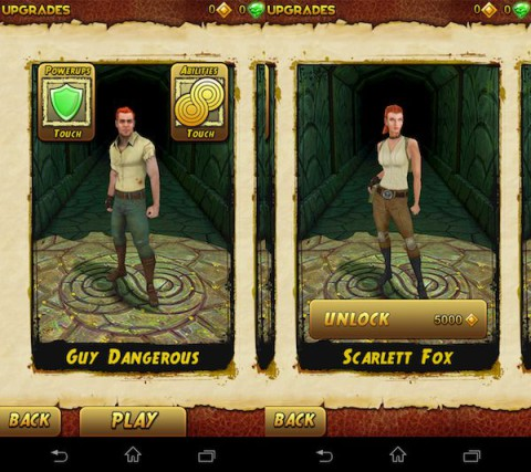 The default character for the game Temple Run is Guy Dangerous. The female character, Scarlett Fox, originally had to be unlocked with coins or real-life money. After Maddie's op-ed, she is now available as a free character. Image source: Imangi Studios