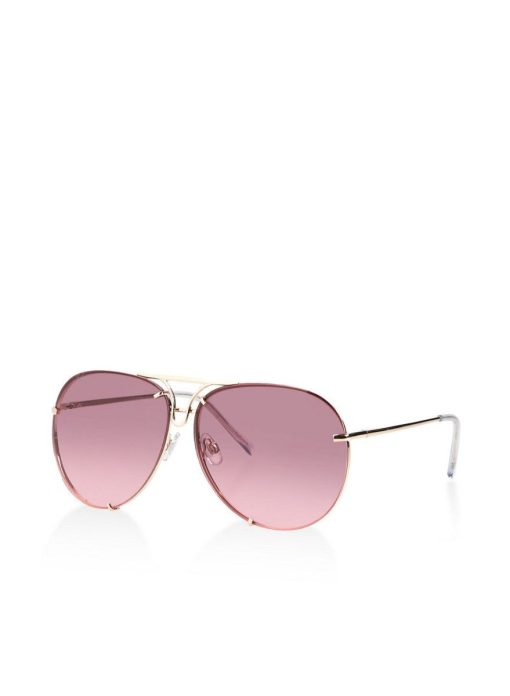 Pink Aviator Round Women Sunglasses With Gold Frame