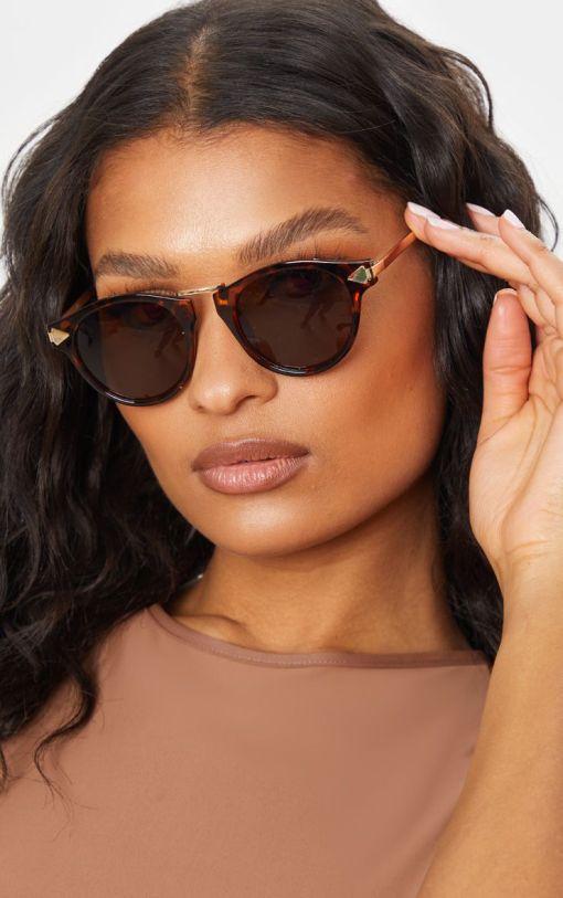 Retro Clubmaster Sunglasses Women Tortoise Non-Polarized