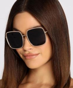 Black Gold Square Small Cat Eye Sunglasses Women's