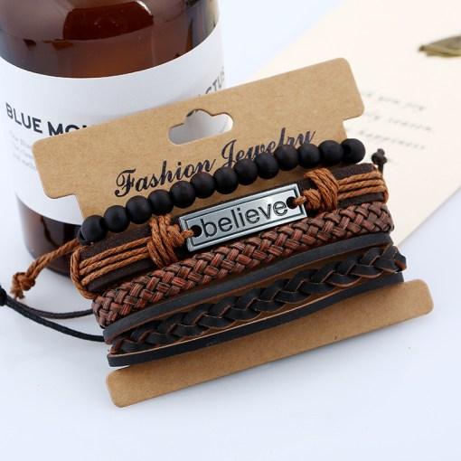 Mens Leather Cuff Bracelets Motivational Wristbands