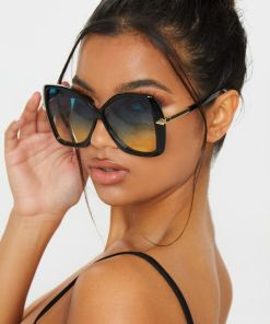 Womens Big Black Gradient Aviator Sunglasses