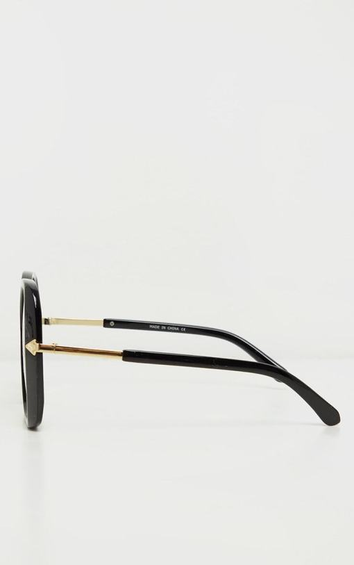 Womens Big Black Gradient Aviator Sunglasses
