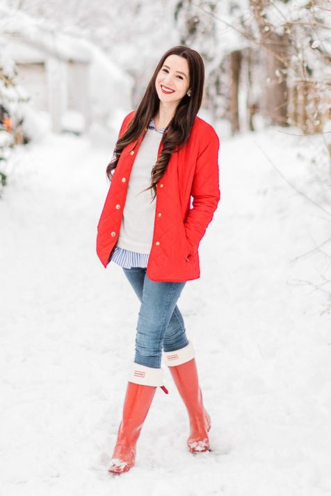 Red Quilted Jacket Hunter Boots 2