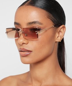 Brown Rimless Rectangular Cat Eye Sunglasses womens