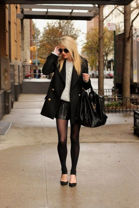 Knit And Leather Party Outfit