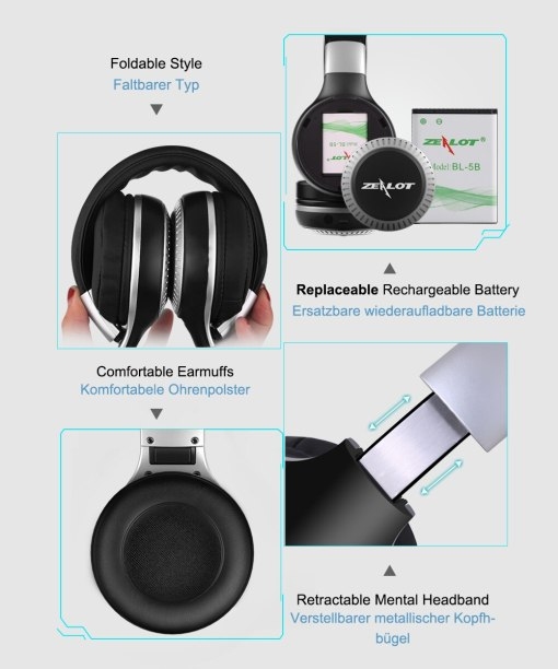 ZEALOT B20 Stereo Bluetooth Headset Headphones with Microphone Bass Foldable Wireless Earphone for Computer Phones Support Aux