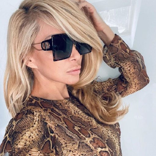 Oversized Black And Gold Square Sunglasses